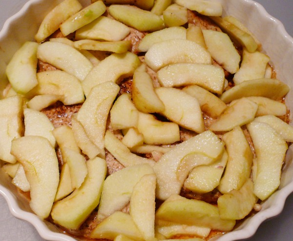 Porkchops covered with apple slices