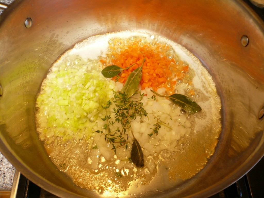 crayfish butter - add mirepoix
